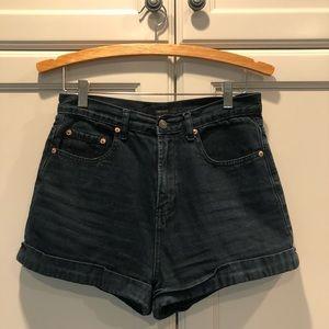 Washed Black High Wasted Shorts